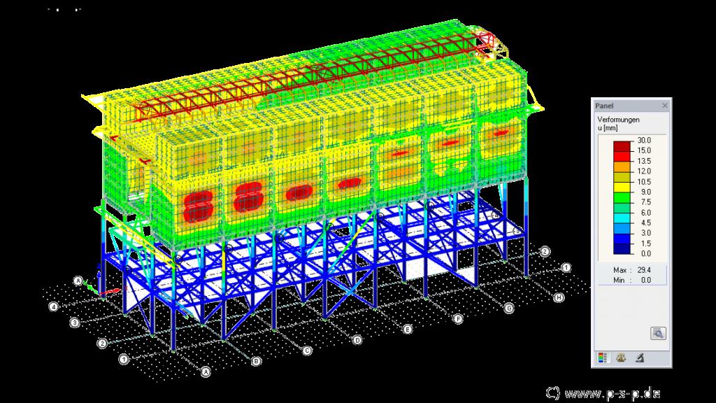 RFEM vervormingen van energiecentrale